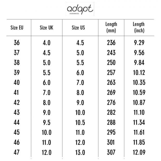 Adapt Skates Sizing Chart 2017