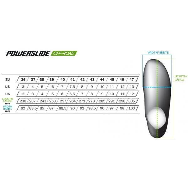 Powerslide XC Path Vi Rollerski Sizing Chart